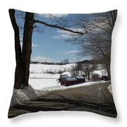 Sap Buckets Ready At The Jenne Farm Throw Pillow by Jeff Folger