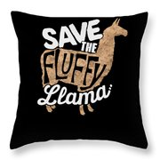 Save The Fluffy Llama Throw Pillow