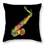 Saxophone Music Instrument Gift For Musician Color Designed Throw Pillow