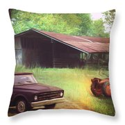 Scenes From The Past - Trucks And Tractors Throw Pillow
