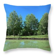 Scenic View Of Burgundy Canal Throw Pillow