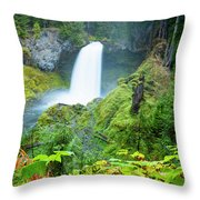 Scenic View Of Waterfall, Portland Throw Pillow