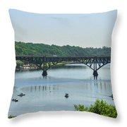 Schuylkill River View - Strawberry Mansion Bridge Throw Pillow