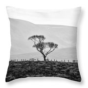 Scottish Highland Tree In Black And White Throw Pillow