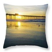 Scripps Pier Golden Sandpipers Throw Pillow