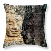 Sculptures At Bayon Temple, Angkor Throw Pillow