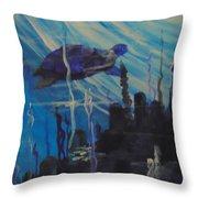 Sea Turtle Throw Pillow by Saundra Johnson