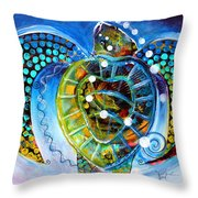 Sea Turtle Says Throw Pillow