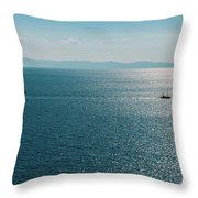 Sea With Two Boats Throw Pillow