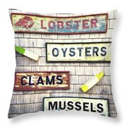 Seafood Signs Throw Pillow