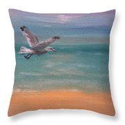 Seagull At Dusk Throw Pillow