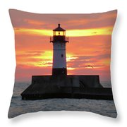 Seagulls And Sunrise Throw Pillow