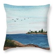 Seagulls Over Lighthouse Cove Throw Pillow