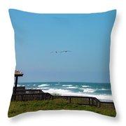 Seaside Gazebo Throw Pillow by Lora J Wilson