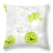 Seasons Greetings - Frosty White With Chartreuse Accents Throw Pillow