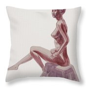 Seated Nude Woman Watercolor Throw Pillow