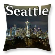 Seattle At Night Throw Pillow