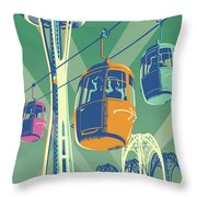 Seattle Poster- Space Needle Vintage Style Throw Pillow