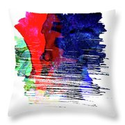 Seattle Skyline Brush Stroke Watercolor   Throw Pillow