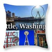 Seattle Washington Waterfront 01 Throw Pillow