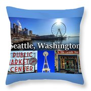 Seattle Washington Waterfront 01 Throw Pillow