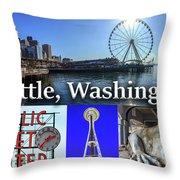 Seattle Washington Waterfront 02 Throw Pillow