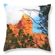 Sedona Adobe Jack Trail Blue Sky Clouds Trees Red Rock 5130 Throw Pillow