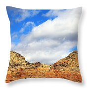 Sedona Jack's Trail Blue Sky, Clouds Red Rock Hills 5032 3 Throw Pillow