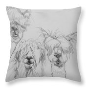 See No Evil Sketch Throw Pillow by Jani Freimann