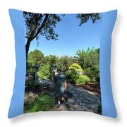 Self Portrait 20 - Aligned With A Half Moon Over Downtown Austin At Zilker Botanical Garden Throw Pillow