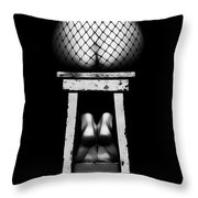Sensual Woman Sitting Rear View Throw Pillow