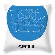Seoul Blue Subway Map Throw Pillow