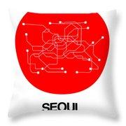 Seoul Red Subway Map Throw Pillow