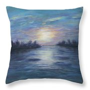 Serene River Sunset Throw Pillow