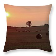 Setting Sun And Hay Bales Throw Pillow