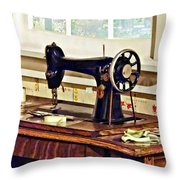 Sewing Machine In Kitchen Throw Pillow