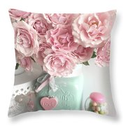 Shabby Chic Pink Roses In Aqua Mason Jar Romantic Cottage Floral Print Home Decor Throw Pillow