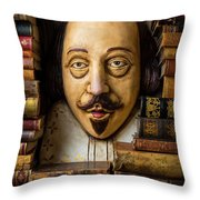 Shakespeare With Old Books Throw Pillow