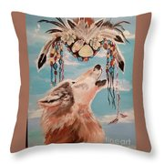 Shaman Mask And Wolf Throw Pillow
