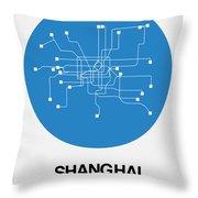 Shanghai Blue Subway Map Throw Pillow