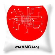 Shanghai Red Subway Map Throw Pillow