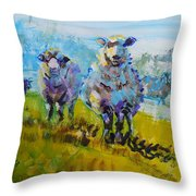 Sheep And Lambs In Bright Sunshine Throw Pillow