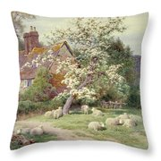 Sheep Outside A Cottage In Springtime Throw Pillow