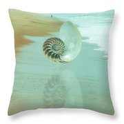 Shell Reflections In The Sand In The Soft Dawn Throw Pillow