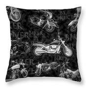 Shiny Bikes Galore In Black And White Throw Pillow