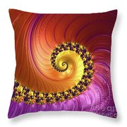 Shiny Purple And Gold Spiral Throw Pillow