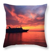 Ship At Mykonos Bay Mykonos Cyclades Greece  Throw Pillow