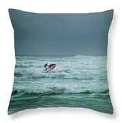 Shooting The Surf Throw Pillow by Judy Hall-Folde