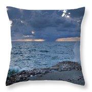 Shoreline Rain Clouds Throw Pillow