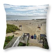 Shoreline Staircase By Uscg Station Chatham Cape Cod Massachusetts Throw Pillow